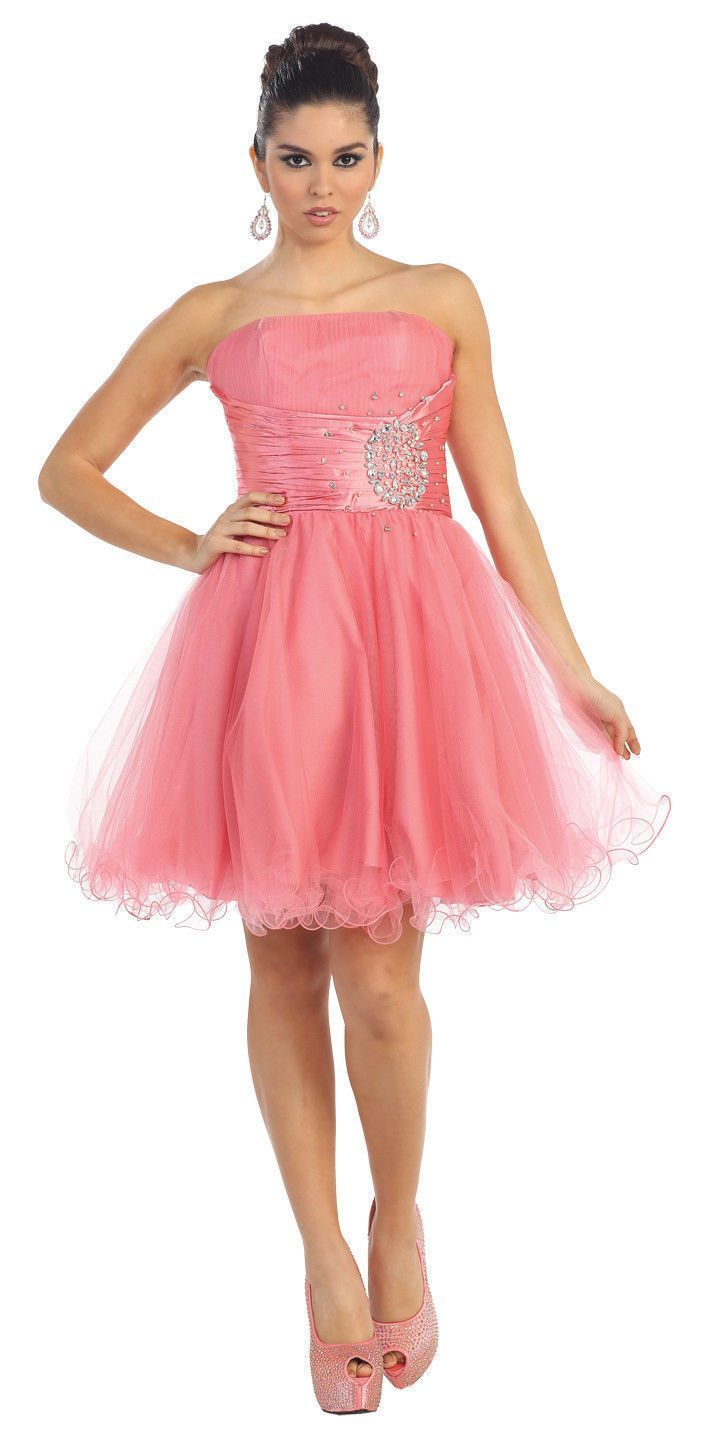 Short Cocktail Strapless Prom Formal Dress