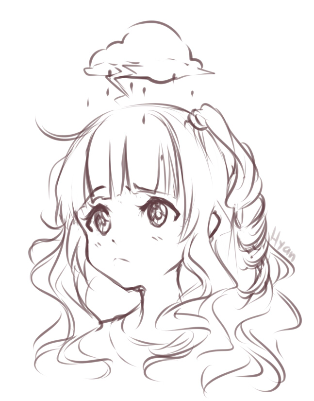 Bad Hair Day Rain And Struggle By Hyan Doodles On Deviantart Anime Drawings Sketches Anime Sketch Anime Drawings
