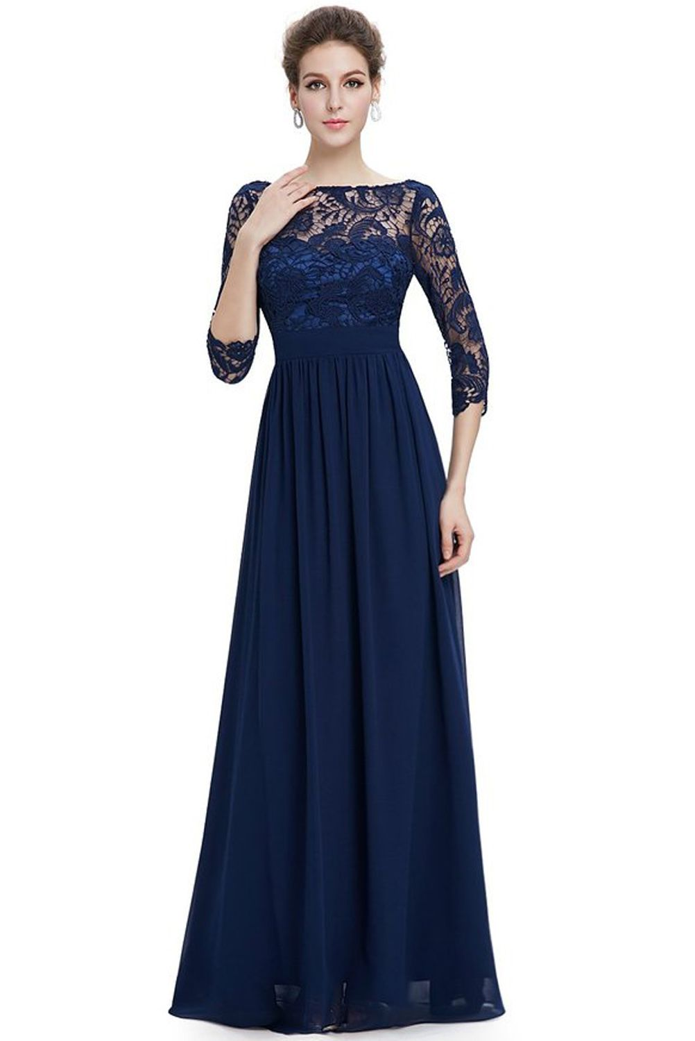 36e23cec49 this stunning evening dress features a figure flattering ruched satin waist  and a 3/4 sleeve lace bust. the formal floor length of the dress coupled  with ...