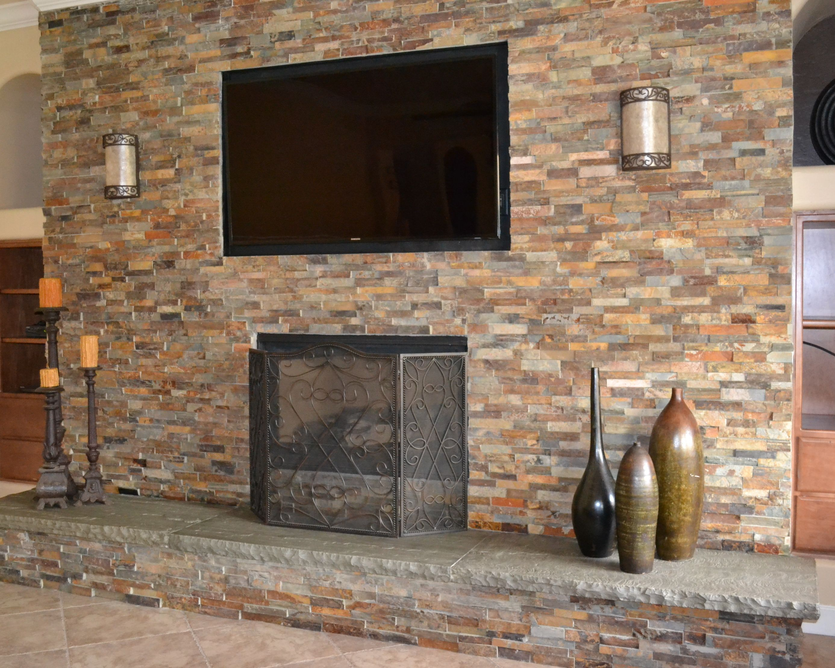 Stunning Stone Veneer Over Drywall Fireplace and diy installing ...