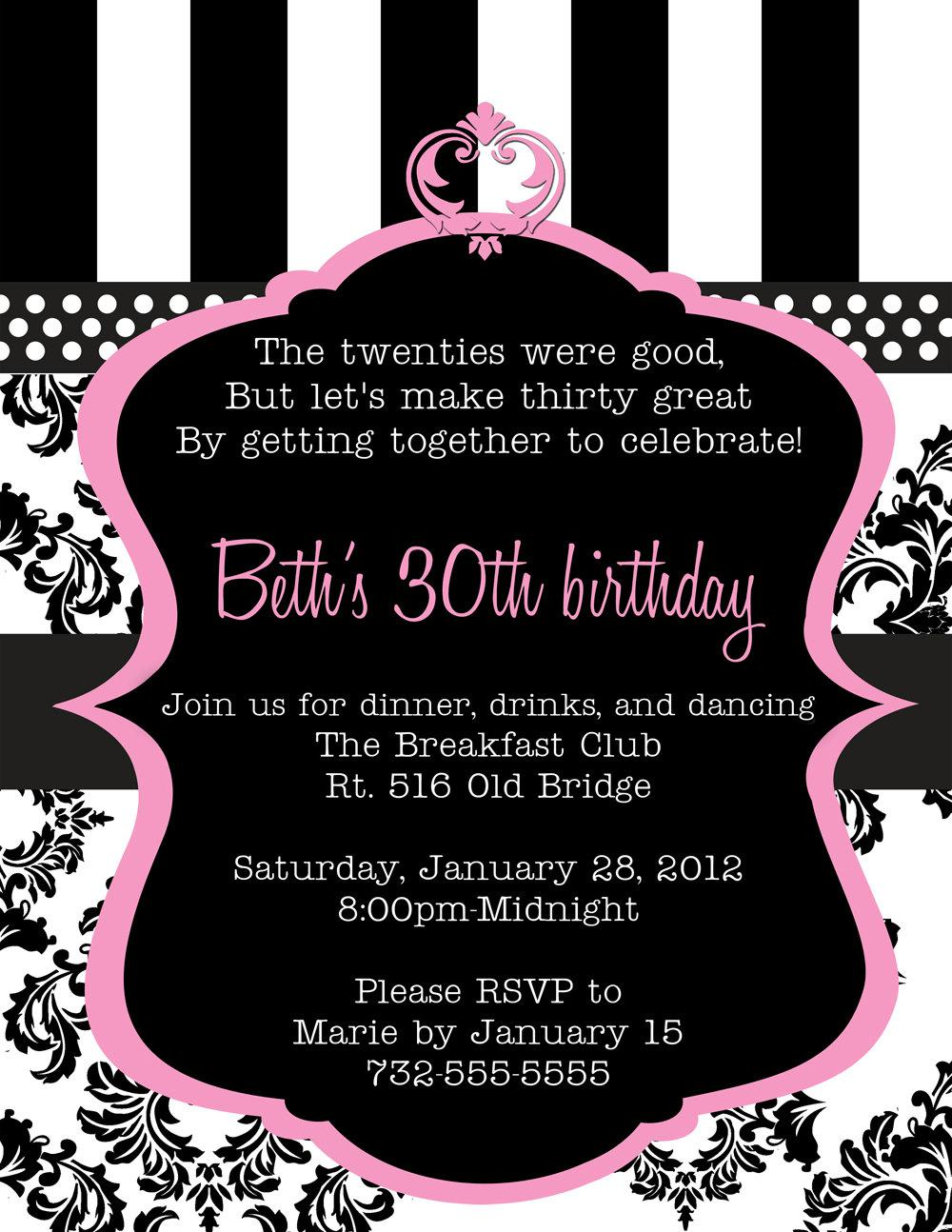 30th Birthday Invitation Wording Image Source in