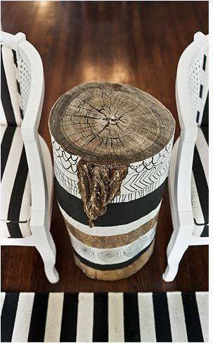 Painted Tree Stump Side Table #sidetable side table design