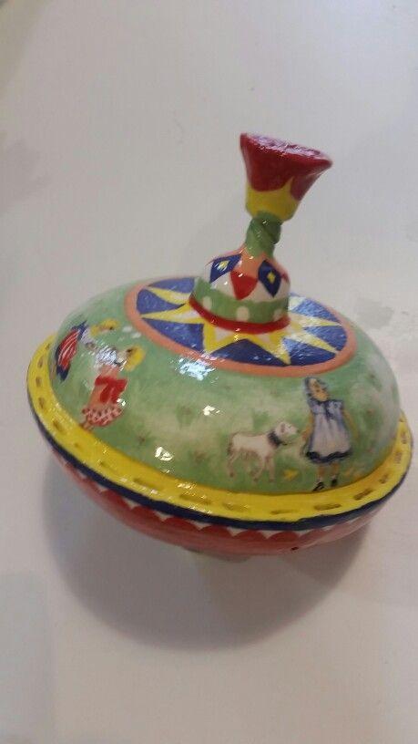 Twister ceramic art old toys