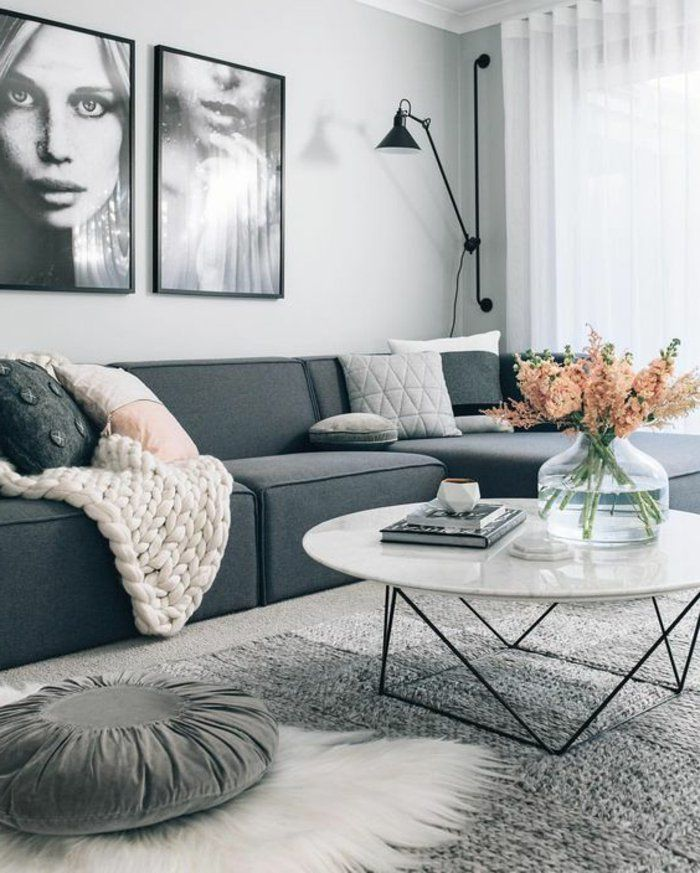 Perlgrau eine wunderschöne Kombination für das Wohnzimmer Salons