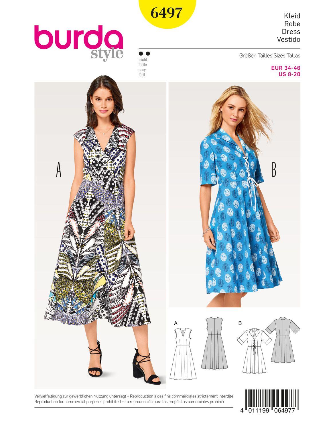 Kleid F/S 2017 #6497B | Schnittmuster kleid, Burda style und Das kleid