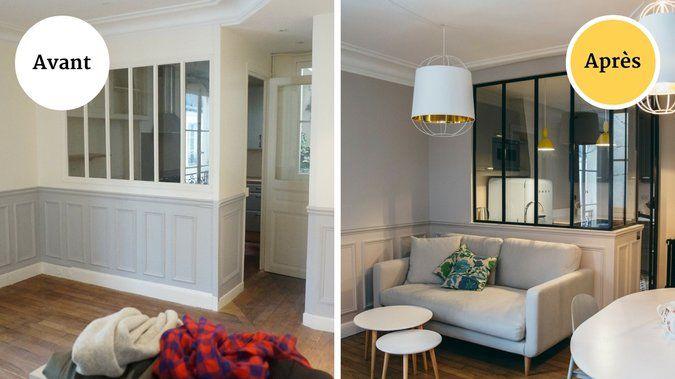 Avant / après : une pièce à vivre rétro en triptyque | Decoration ...
