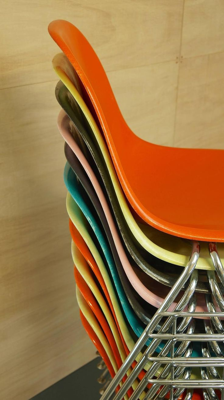 Vintage MidCentury Eames Fiberglass Stacking Shell Chairs
