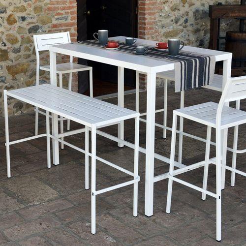 Salon de jardin table de bar 2 chaises de bar 2 bancs de bar acier dorio rd ital decoclico - Table de salon bar ...