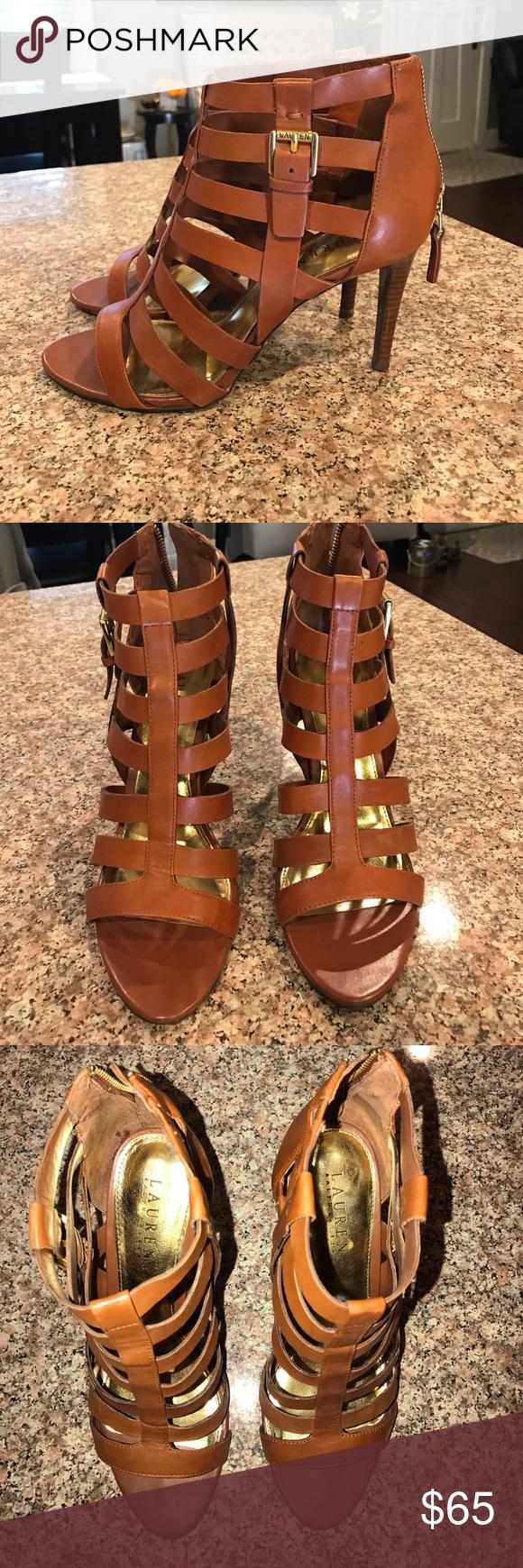 Ralph Lauren caged sandal heels Ralph Lauren caged sandal heels. Excellent condition. Worn once. Perfect for summer! Lauren Ralph Lauren Shoes Heels