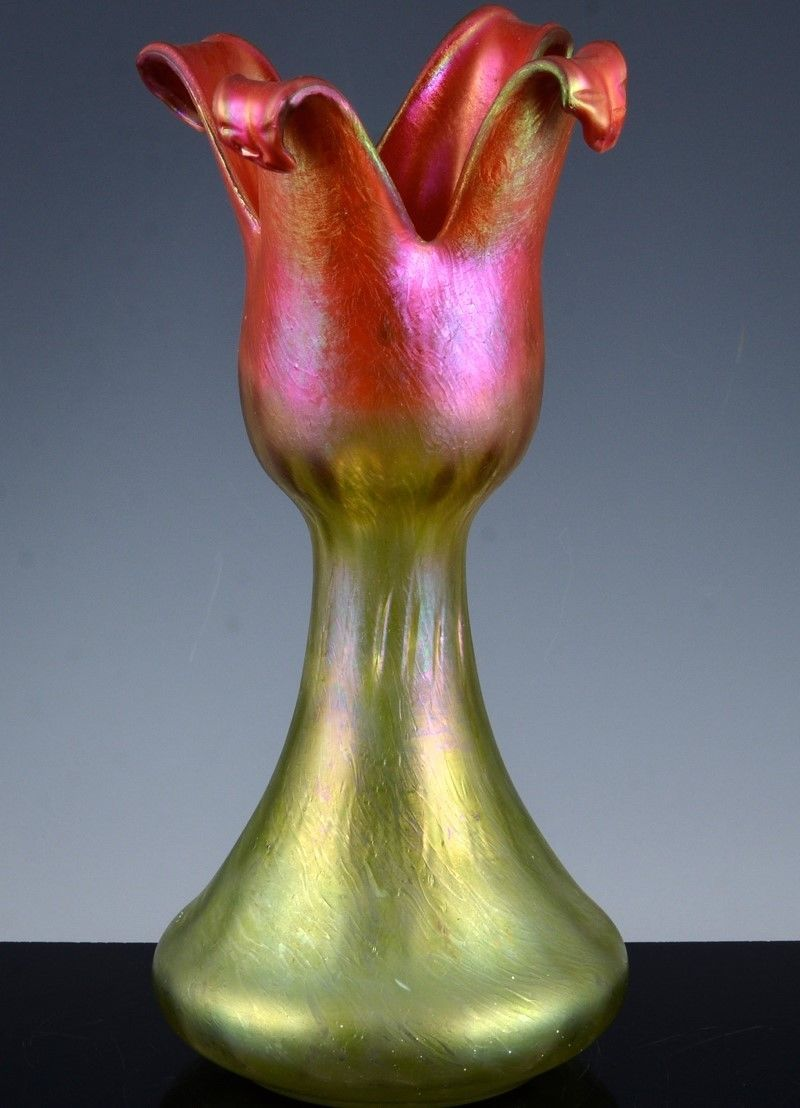 Vrare c1900 loetz austrian iridescent art glass red green tulip up for auction with no reserve is very rare c1900 loetz austrian art glass flower form reviewsmspy