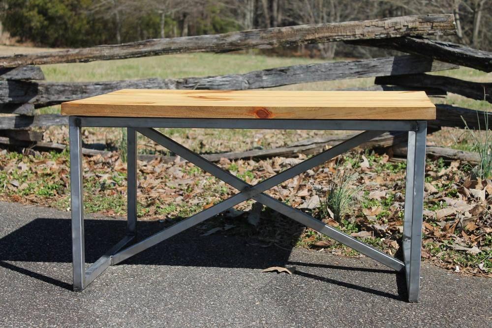 """Industrial 46"""" x 24"""" repurposed barnwood coffee table"""