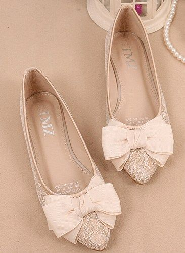 Ivory Bow Lace Flats Shoes,Lace Bridal Flats,Wedding Flats