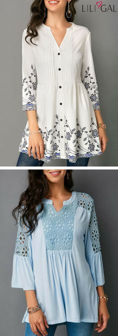 05729cac52f Button Front Printed White Three Quarter Sleeve Blouse  Lace Panel Split  Neck Baby Blue Blouse  liligal  top  blouse  shirts  tshirt