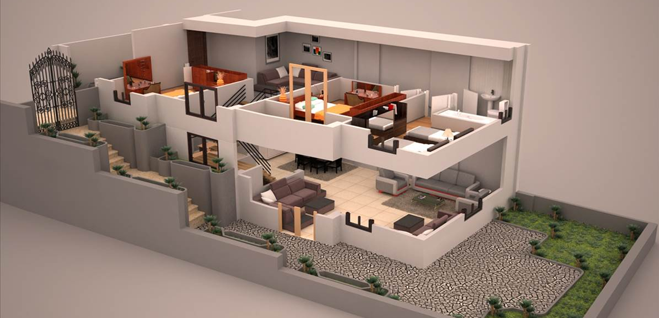 Duplex 3d plan 3d plans pinterest plans de maison for Plans en 3d