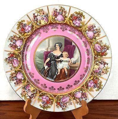 Antique Pnk Victorian Plate Mother Child Jk Decor Carlsbad Bavaria