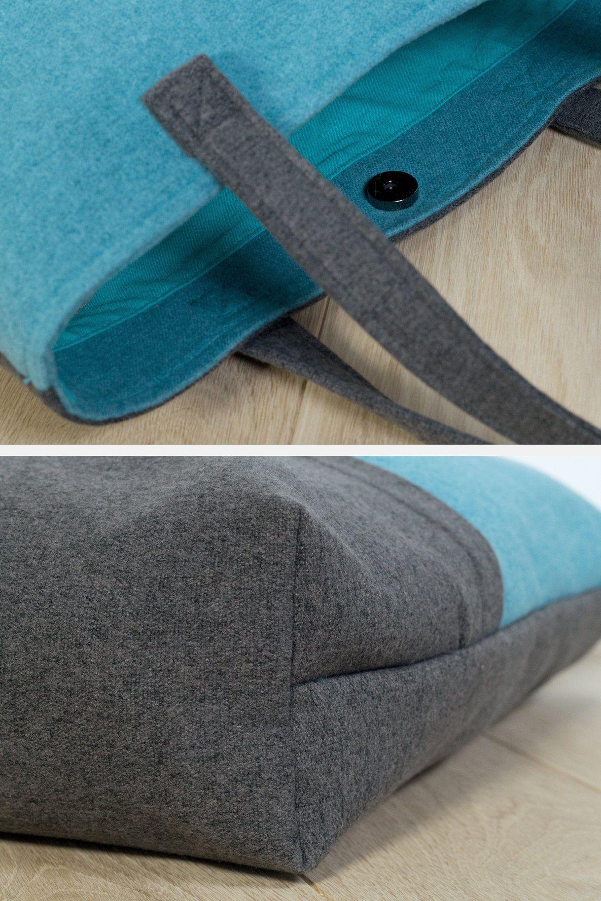 Shopper Schnittmuster Tasche Filz Magnet selber nähen Boden