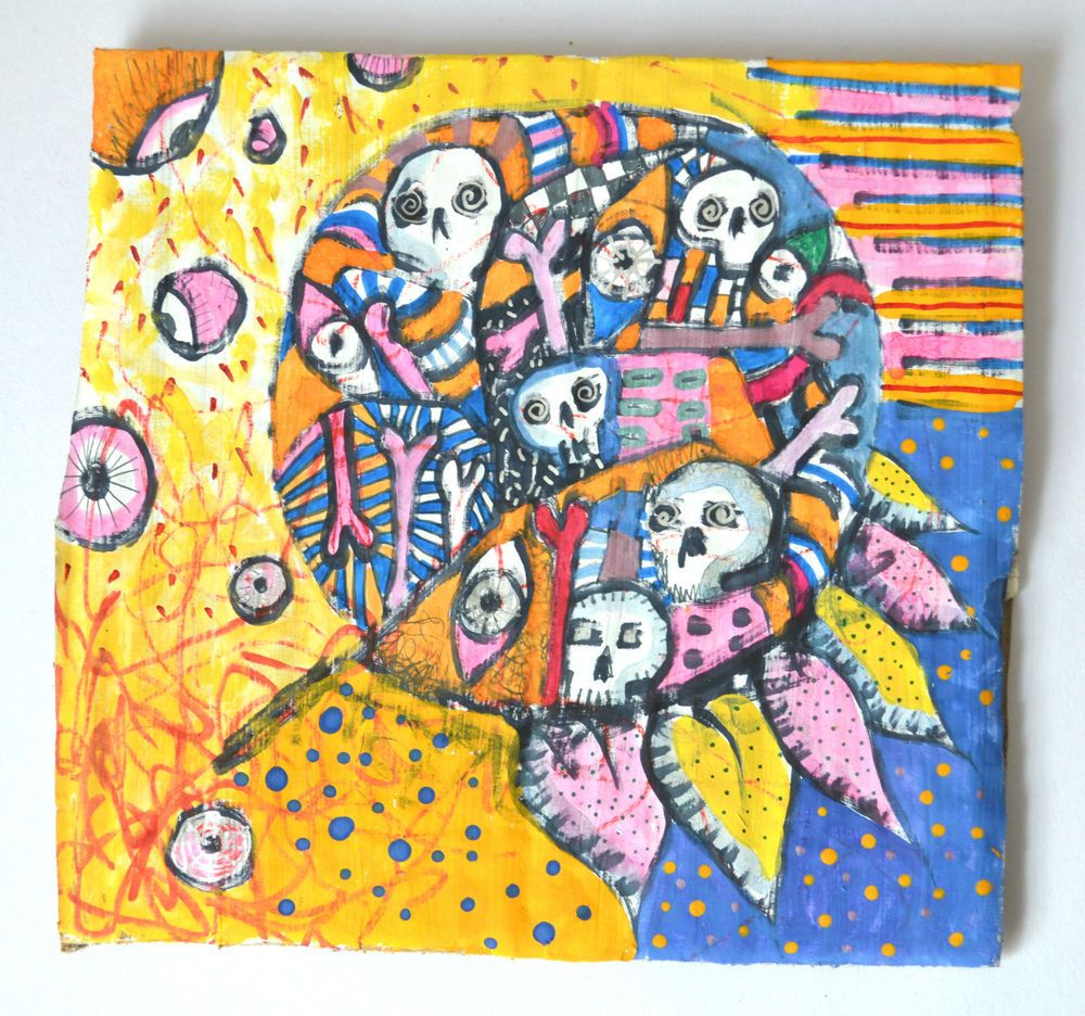 Original Abstract Gothic Painting,Pink,Orange,Blue,Yellow,Home Art, Macabre Gift