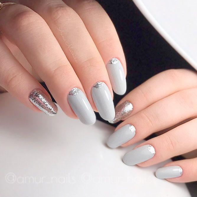 Acrylic Nail Designs Medium Length Oval Grey Silver