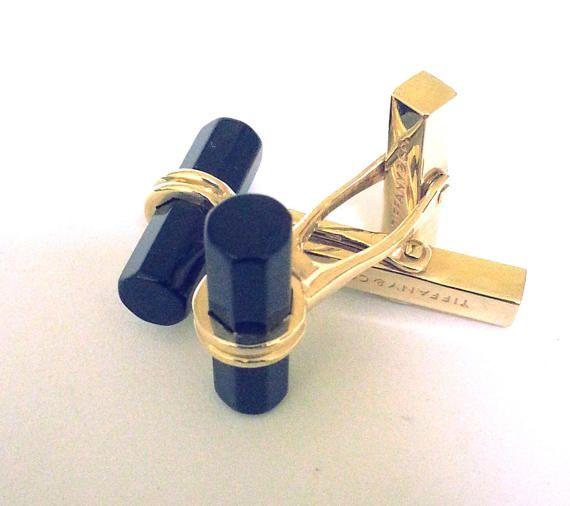 Tiffany & Co  Cuff Links Solid 14 K Yellow #Gold Black #Onyx