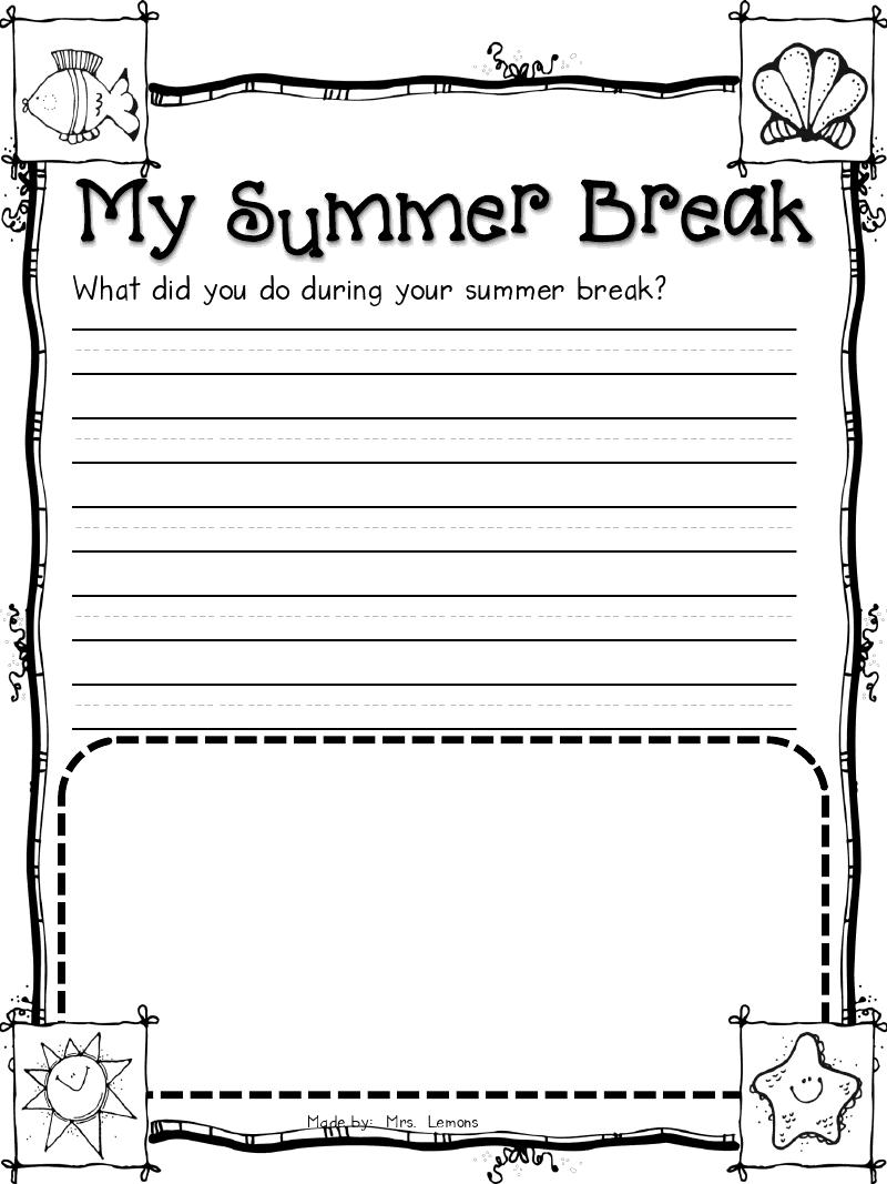 My Summer Break Writing Activity Could Make A Cute Class