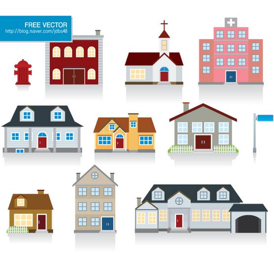 집 일러스트 6 집 디자인 도시