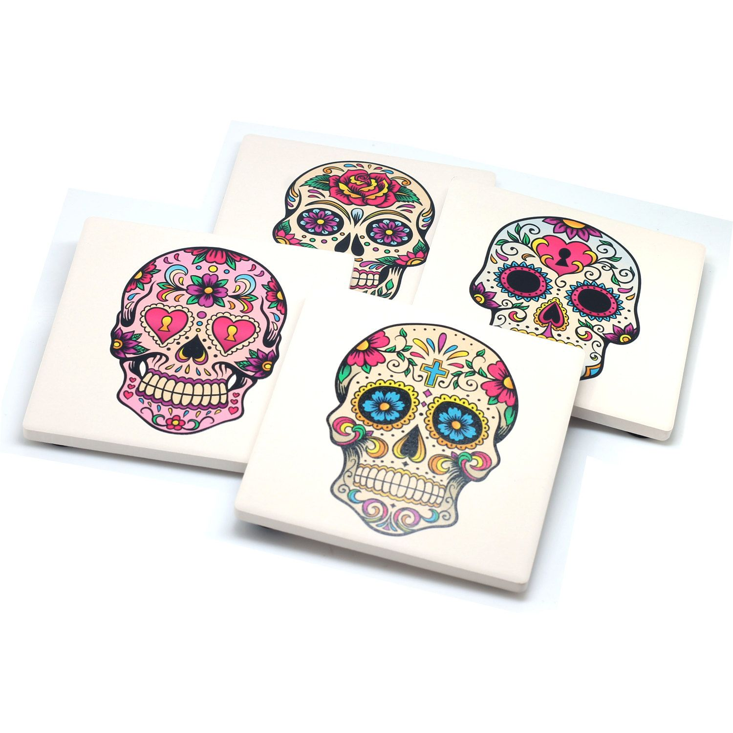 Set of 4 stone drink coasters with sugar skulls day of the dead set of 4 stone drink coasters with sugar skulls day of the dead design my dailygadgetfo Choice Image