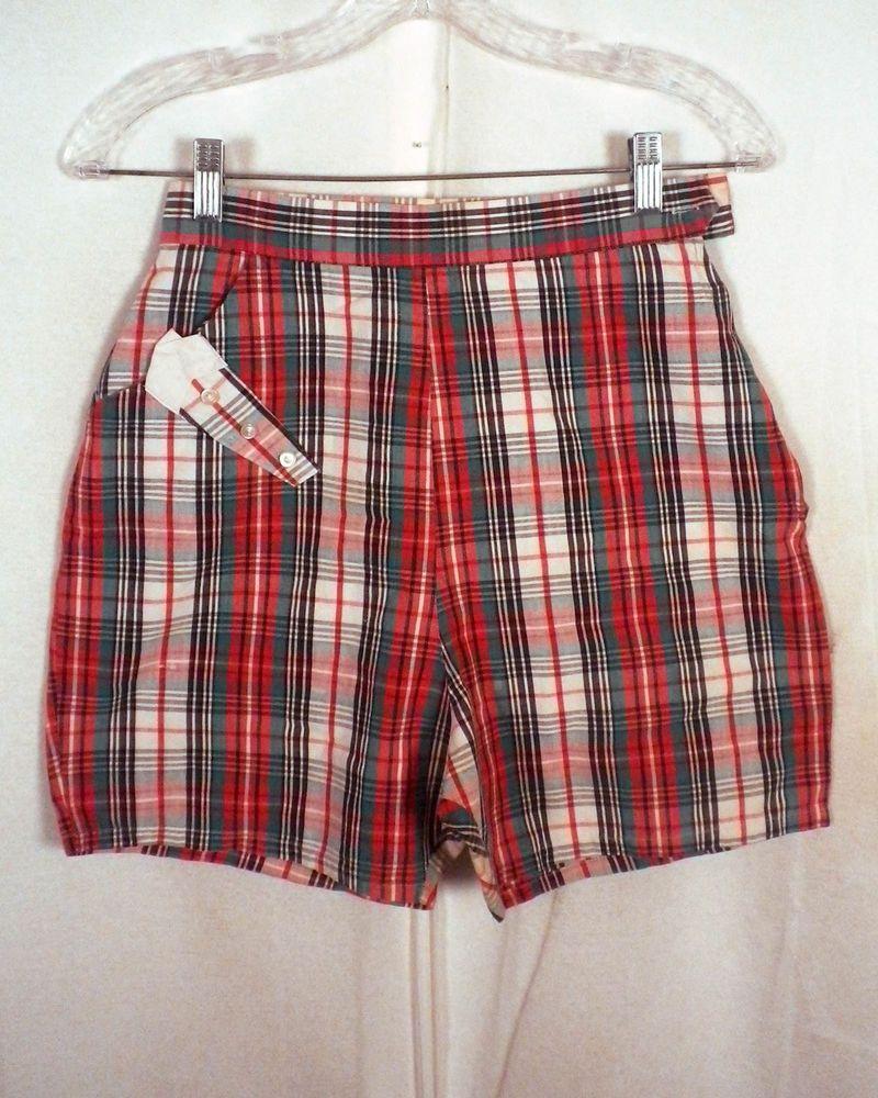vtg 50s 60s Ladies High Waisted Tartan Plaid Bermuda Shorts wash n ...