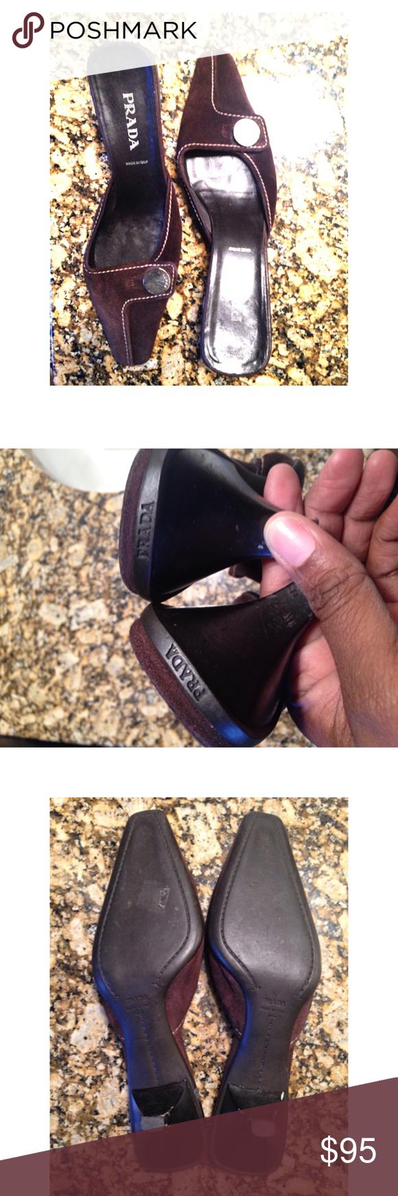 """Prada Slides Heel measures 2.5"""". Shows minor signs of wear on heels. Suede upper. Prada Shoes Mules & Clogs"""