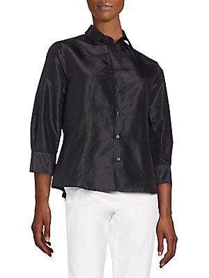 Carolina Herrera Silk Taffeta Blouse - Black - Size 10