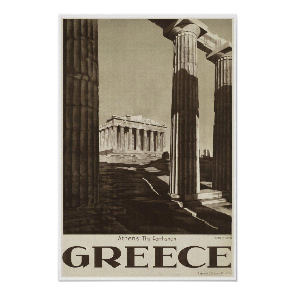 Athens Greece Parthenon Vintage Travel Poster Zazzle Com In 2020 Vintage Travel Posters Travel Posters Vintage Posters