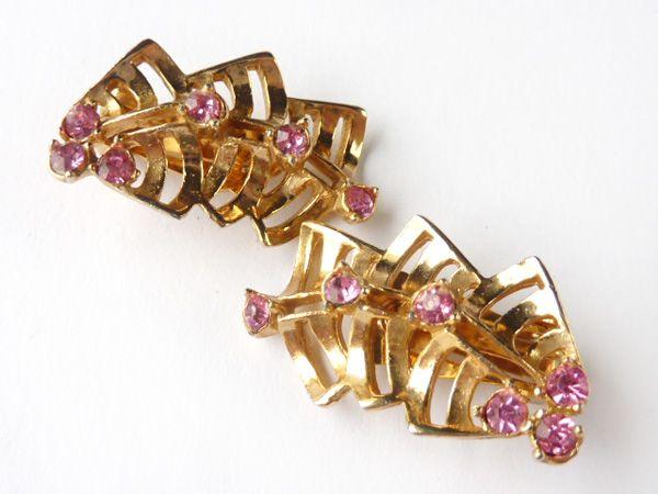 1950s Vintage Pink Rhinestone Earrings SGD$38 (US$31.67)
