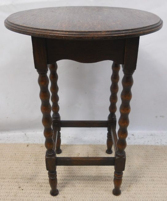 Oak Round Top Bobbin Leg Occasional Table