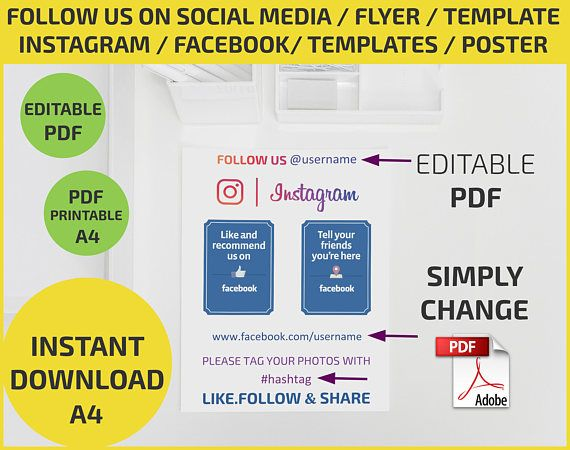 Follow Us On Social Media Check In Like Share Instagram Facebook Flyer Poster Edit