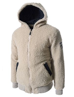 (SGJ01-BEIGE) Slim Fit Inner Padding Fur Hooded Wool Jacket