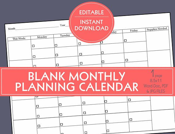 This listing is for an instant downloadable, editable BLANK PLANNING