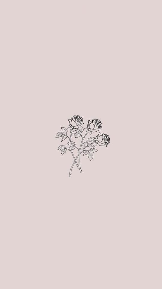 Minimalist Flower Drawing Wallpaper