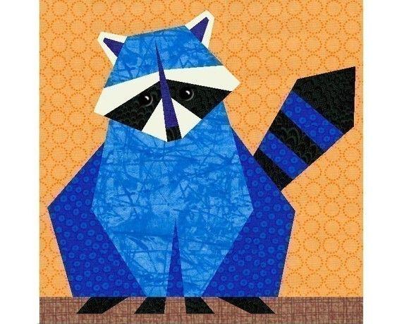Raccoon quilt block pattern, paper pieced quilt patterns, woodland ...