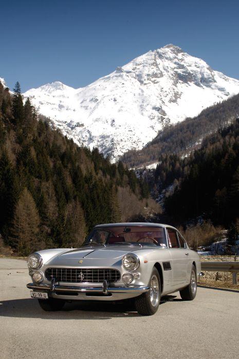 Ferrari 250 GTE (1963) With a drop-dead gorgeous Pininfarina body. 3 liter SOHC V12 engine, developing around 240bhp.