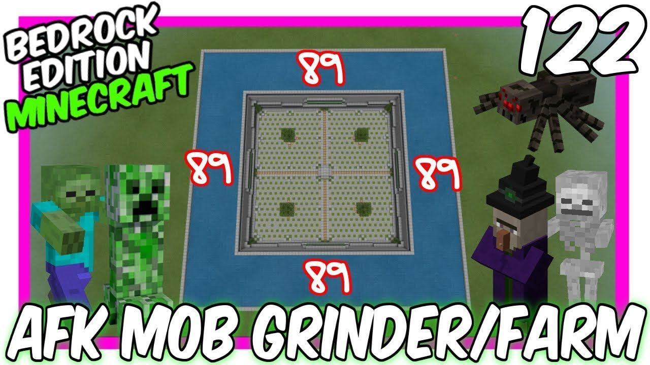 Afk Concept Mob Grinder Farm Minecraft Bedrock Edition Https Youtu Be Ubwrigognha Minecraft 11crew B Minecraft Bedrock Minecraft Mobs