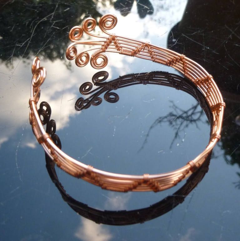 Copper Wire Wrapped Adjustable Bangle ~ FREE UK P+P by ...