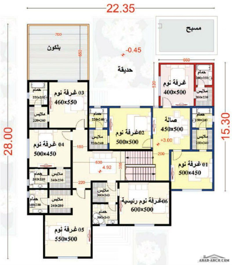 مخطط الفيلا رقم التصميم H1 من مبادرة بيتى 784 متر مربع 7 غرف نوم My House Plans Narrow House Designs Family House Plans