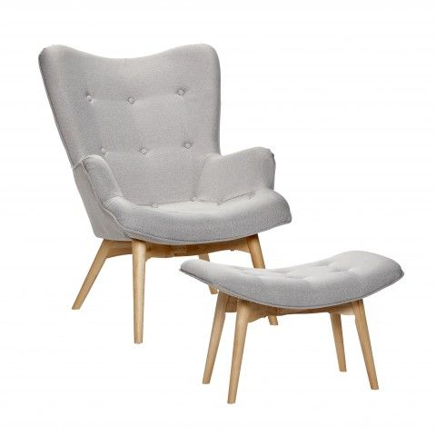 Retro Sessel, Relaxsessel Mit Hocker, Vintage Sessel, Sessel Mit Hocker,  Sessel Grau