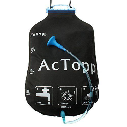 AcTopp Solar Shower Bag 5 Gallon19 Litter Solar Heated
