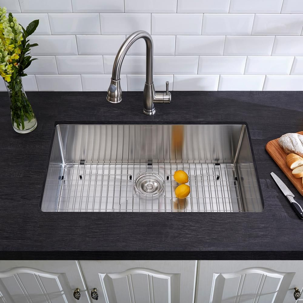 Glacier Bay Undermount Stainless Steel 32 In Single Bowl Kitchen Sink Kit In Satin 4121f Single Bowl Kitchen Sink Single Basin Kitchen Sink Sink