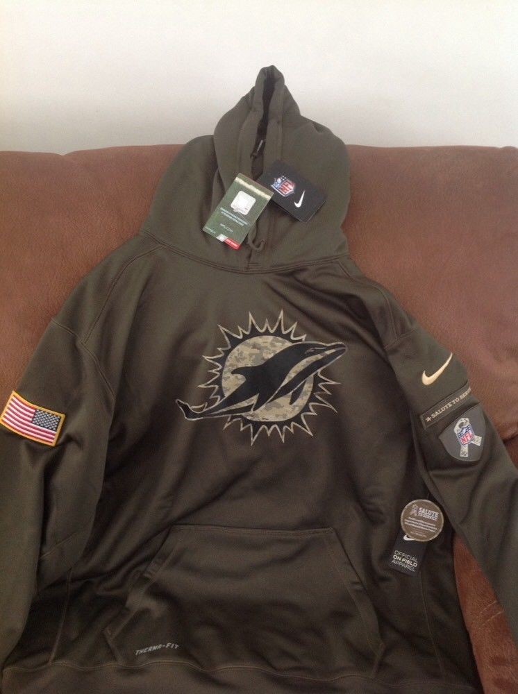 53e07d69a nike therma-fi camo miami dolphins salute to service nfl hoodie NWT size  2XL men