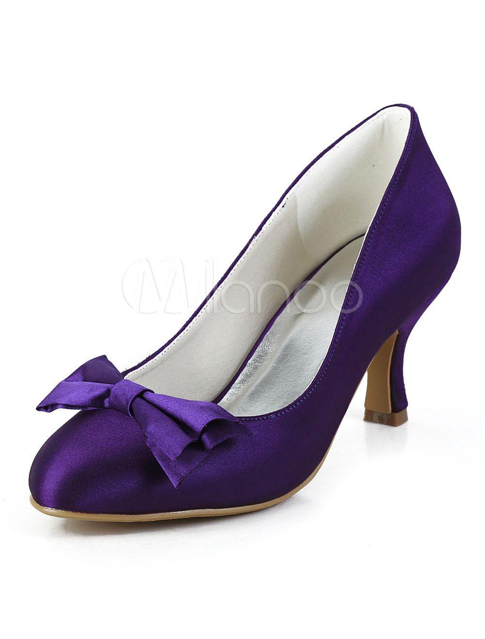 Pretty Purple Silk And Satin Bow Round Toe Shoes For Bride Bride
