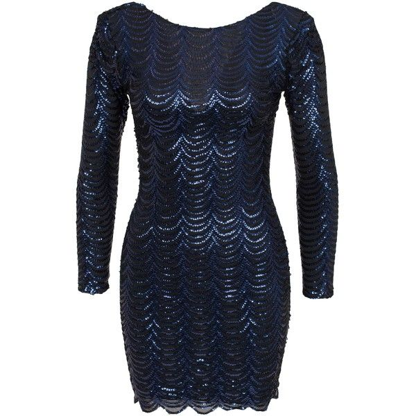 Club L Special Shoulder Pad Scale Sequin Dress (£15) ❤ liked on Polyvore featuring dresses, navy, party dresses, womens-fashion, navy dress, blue sequin dress, blue long sleeve dress, blue cocktail dress and bodycon dress