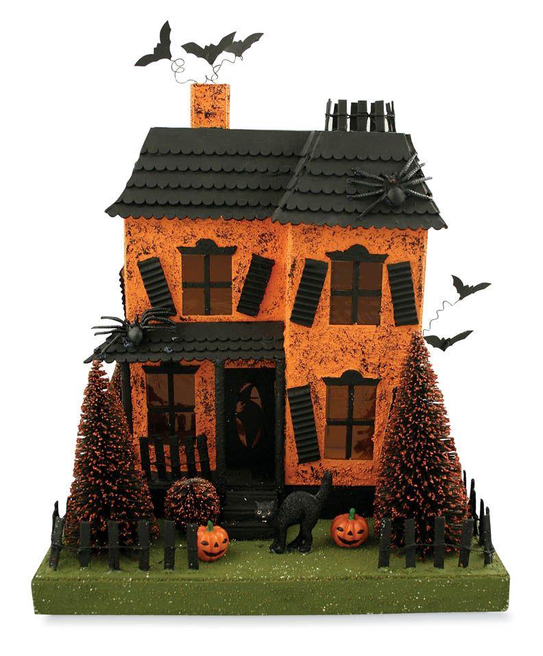 Putz Style Haunted Halloween House Halloween gingerbread
