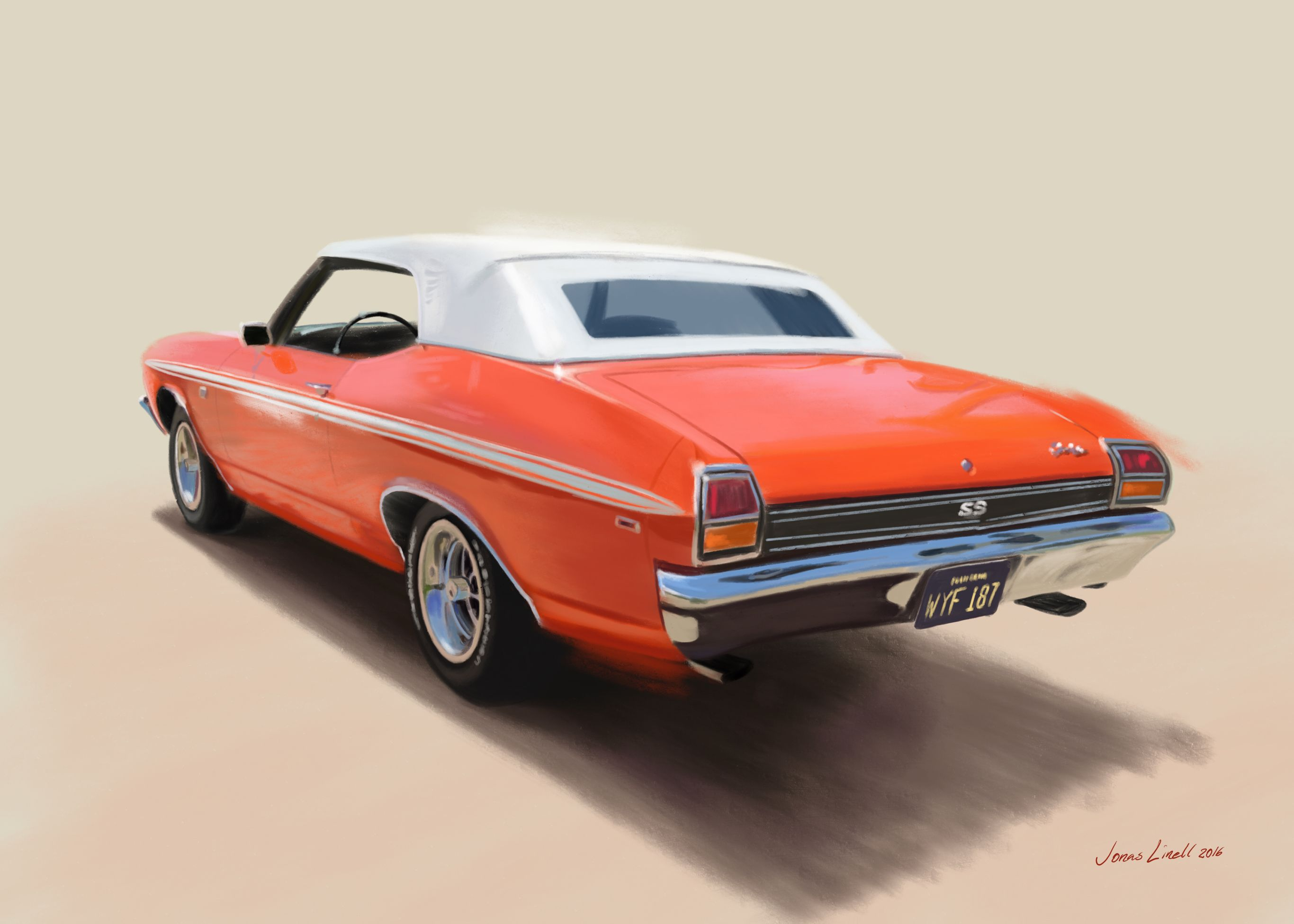Chevelle SS. Americana that doesn't fade. Painting by Jonas Linell 2016. #chevelle #chevy #chevrolet #american #car #art #v8 #classic #musclecar #carposter #illustration