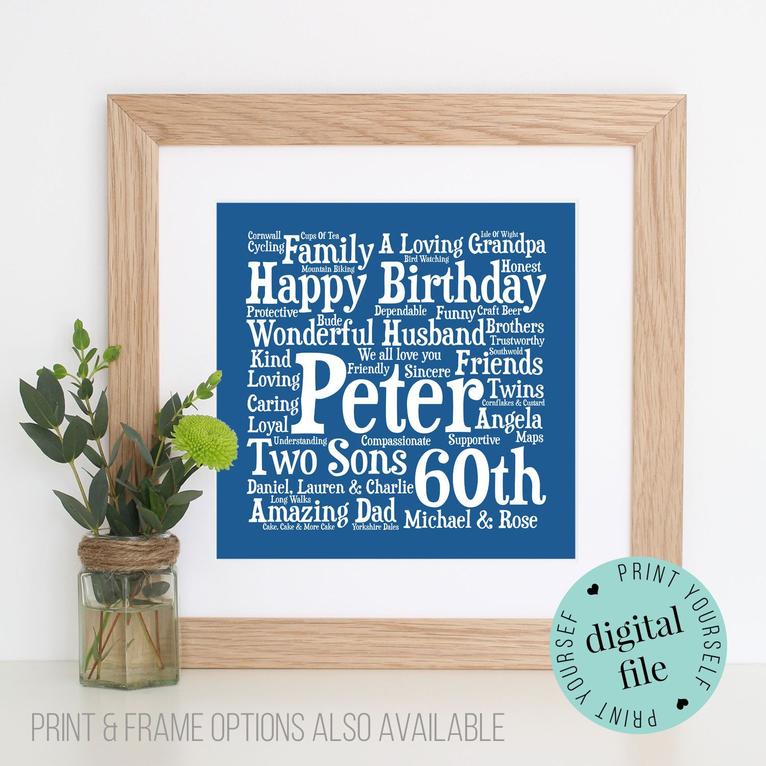 Personalised 60th Birthday Gift Word Art Framed Print